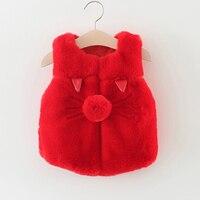 Baby girl clothes winter cartoon pig baby vest baby girl o neck coats 1 2years red sleeveless baby girls coat