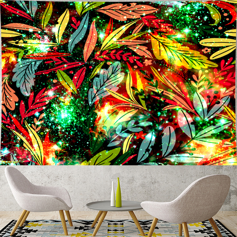 Pastoralism Flower tapestry wall hanging Nordic style 3D leaf colorful Fluorescence Flower kid's room Wall Tapestry Home Decor in Tapestry from Home Garden