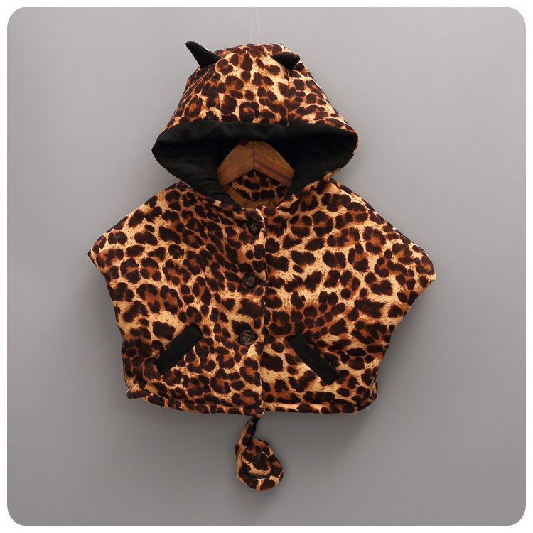 Korean Girl 2016 Autumn  Winter New Pattern Children Fashion Leopard Print Cloak Cloak Girl Baby  Warm