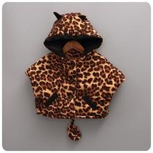 Korean Girl 2016 Autumn  Winter New Pattern Children Fashion Leopard Print Cloak Cloak Girl Baby  Warm