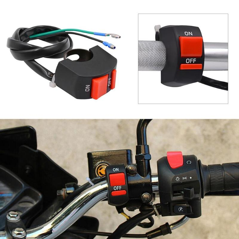 7/8in Motorcycle Handlebar ON/OFF Button Accident Hazard Light Switch Relay Button Connector Double Flash Warning Lamp Switch ...