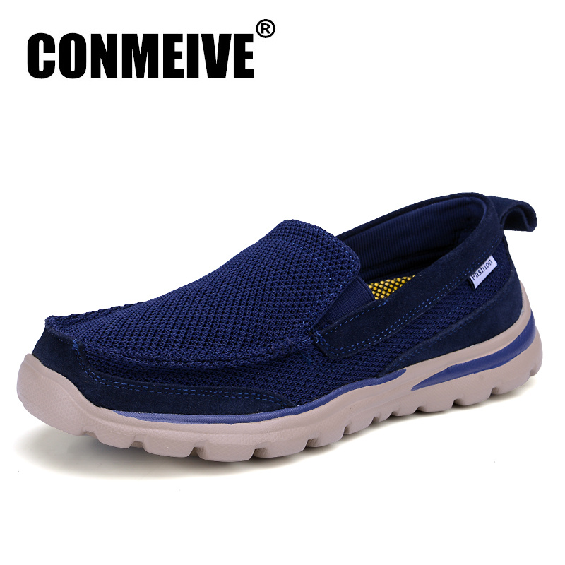 CONMEIVE Brand Summer Shoes Men Casual Slip on Mesh(air Mesh) Male Adult Loafers Breathable Fashion Mens Sneakers Hot Sale