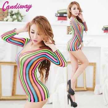 rainbow fishnet mini Dress slutlly Crotch Bodysuit