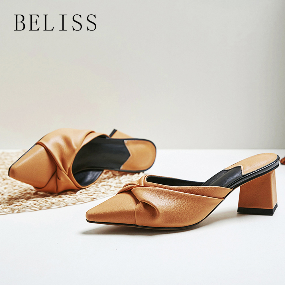 BELISS summer women sandals slides pointed toe ladies slippers butterfly knot comfortable female mules loafers square