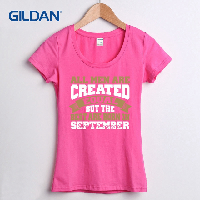 Design And Print Women T Shirt Created Equal Birthday In September Customize A Girls Tee Custom Made