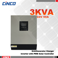 3KVA 24VDC Power Inverter & 50A PWM Solar panel controller and grid charger 2400w remote control power supply solar inverter