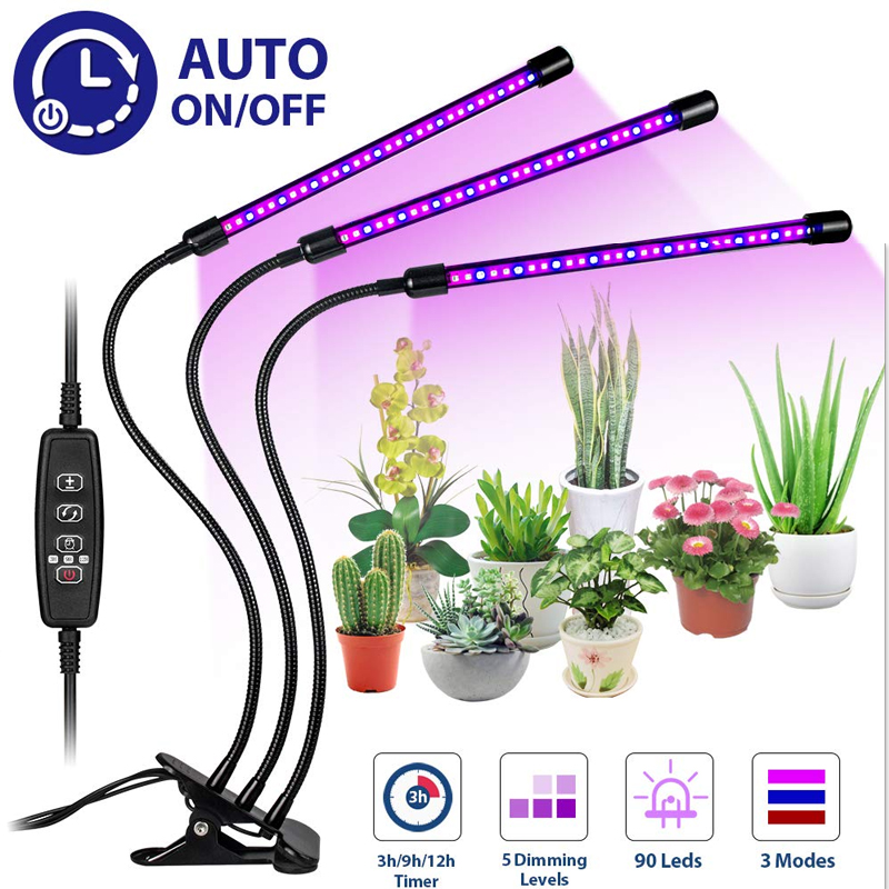 Planting lamp growth lamp holder timer lamp 27w plant growth lamp USB plug LED 3 head for indoor plant growth lighting|Heating Quilts & Mats| |  - title=