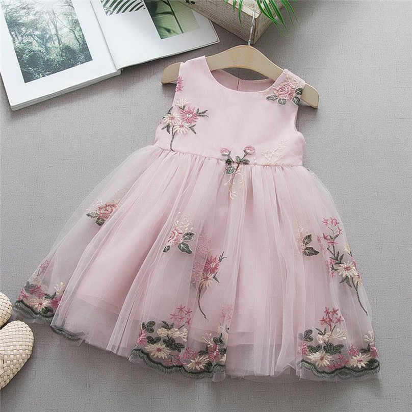 Toddler Baby Kids Girls clothes Flower print Tulle Bow Casual cotton backless Summer Princess Dresses one pieces maxi dress4JJ