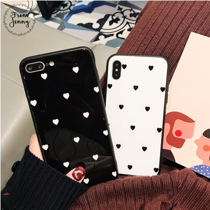 Von Jenny Liebe Herz Glas Telefon Fall für IPhone 6 6 s 6 plus 7/7 plus Süße Anti -knock Hard Cover Für iPhone 8 8 plus X