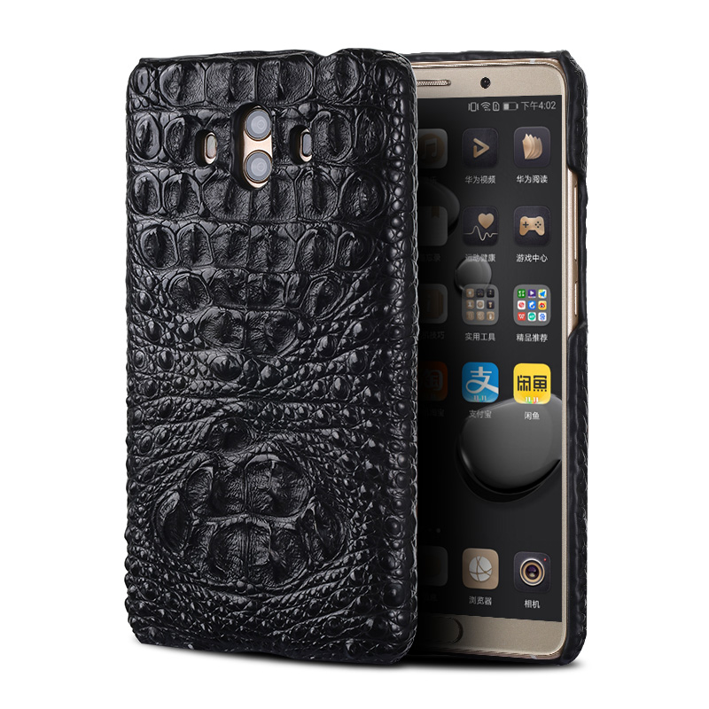 Véritable peau de crocodile téléphone étui pour huawei Mate 10 téléphone couverture arrière de protection en cuir téléphone étui pour huawei p9 lite