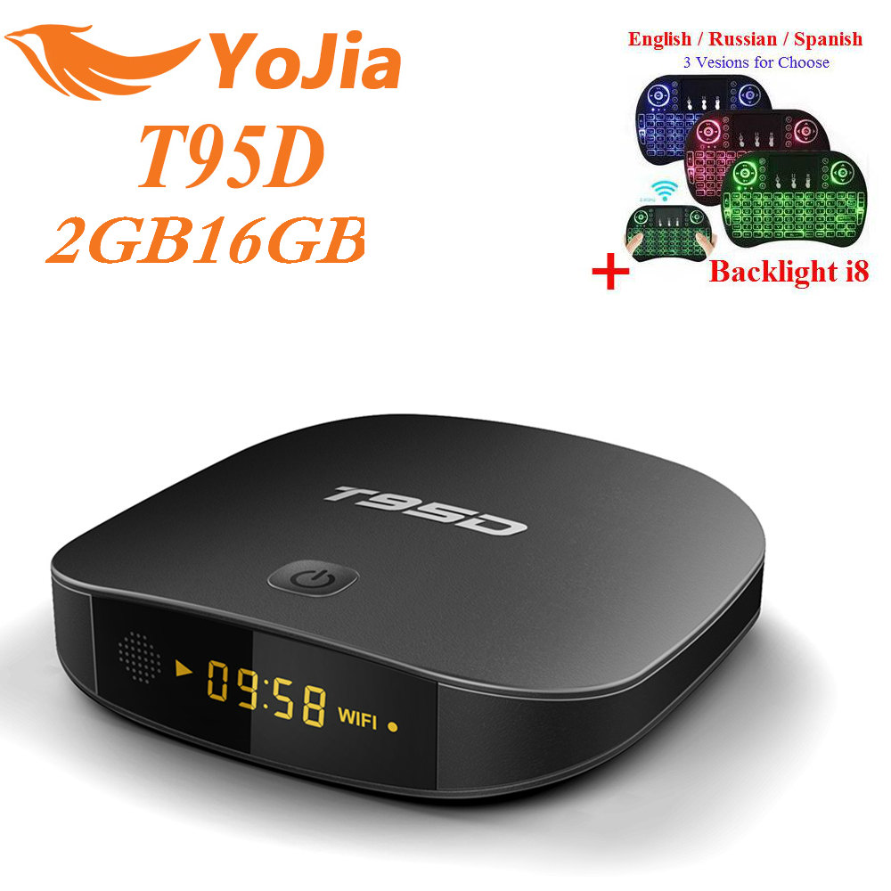 цена на 2GB16GB T95D Rockchip RK3229 Quad Core Android 6.0 TV Box RAM 1GB/2GB DDR3 ROM 8GB 2.4GHz WiFi Miracast HD Smart TV Media Player