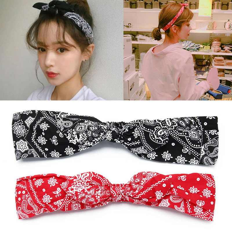 1Pcs Fashion Women Paisley Printing Headbands Retro Bandana Bowknot Hair Band a