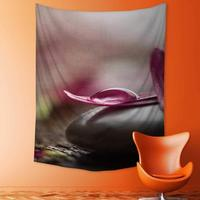 Polyester Tapestry Multi Purpose Pink flower petals with drop of water Wall Hanging for Bedroom Living Room Dorm