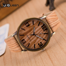 Casual Men Women Watch Retro Design Analog Classic Unisex Round Wood Grain Quartz Wristwatch drop shipping best gift