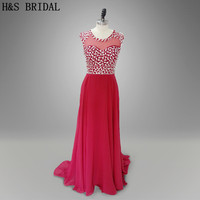 Real Photo O Neck Red Beadings Women Prom Dresses Long Chiffon Evening Gown