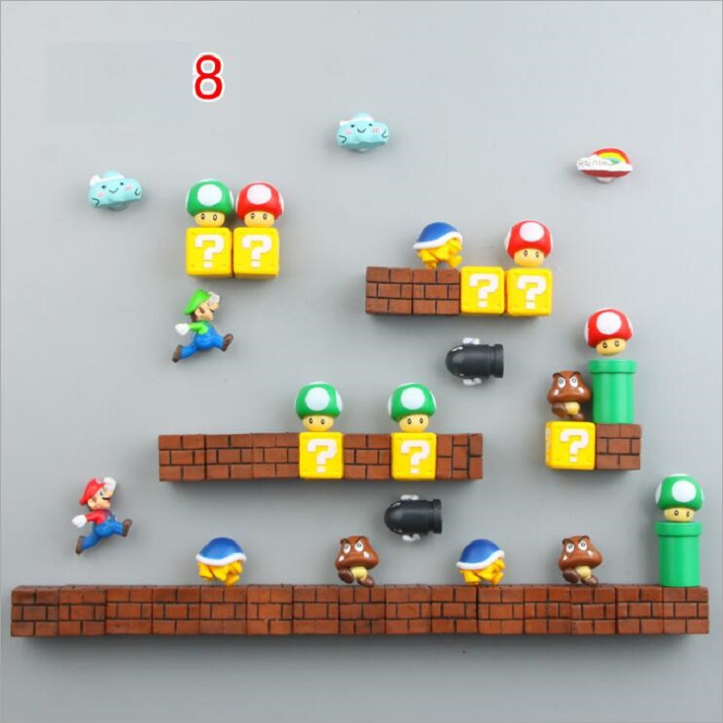 Fridge Magnets Super Marios Siuts Green Mario Magnet Bricks Bullets Postbox Rainbow Toys for Kids Birthday Home Decorations