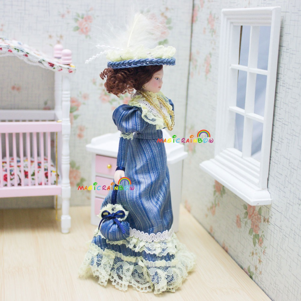 Victorian Flower Lady Miniature Dollhouse Picture