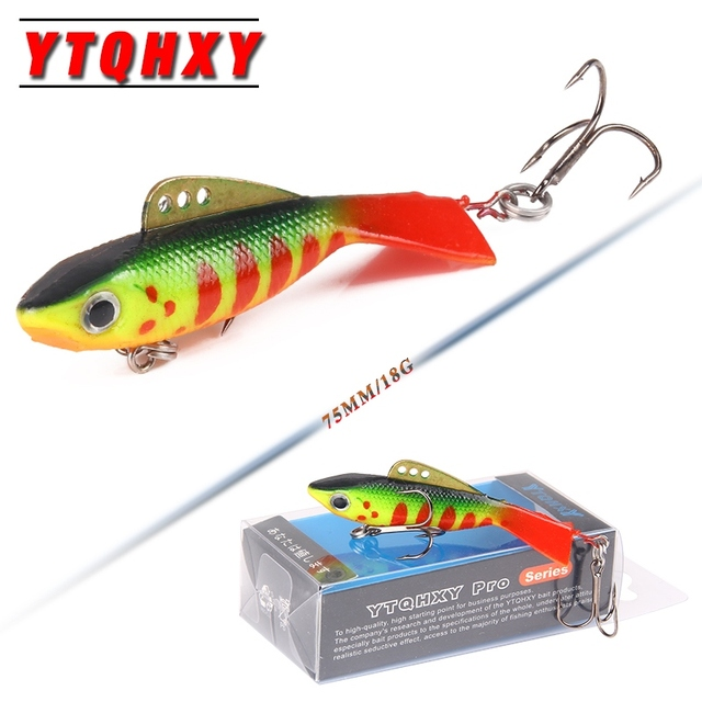 YTQHXY Winter Ice Fishing Lure 75mm 12-18g Vib Wobblers Pesca Tackle Artificial Soft Lead Crankbait fishing accessories YE-109