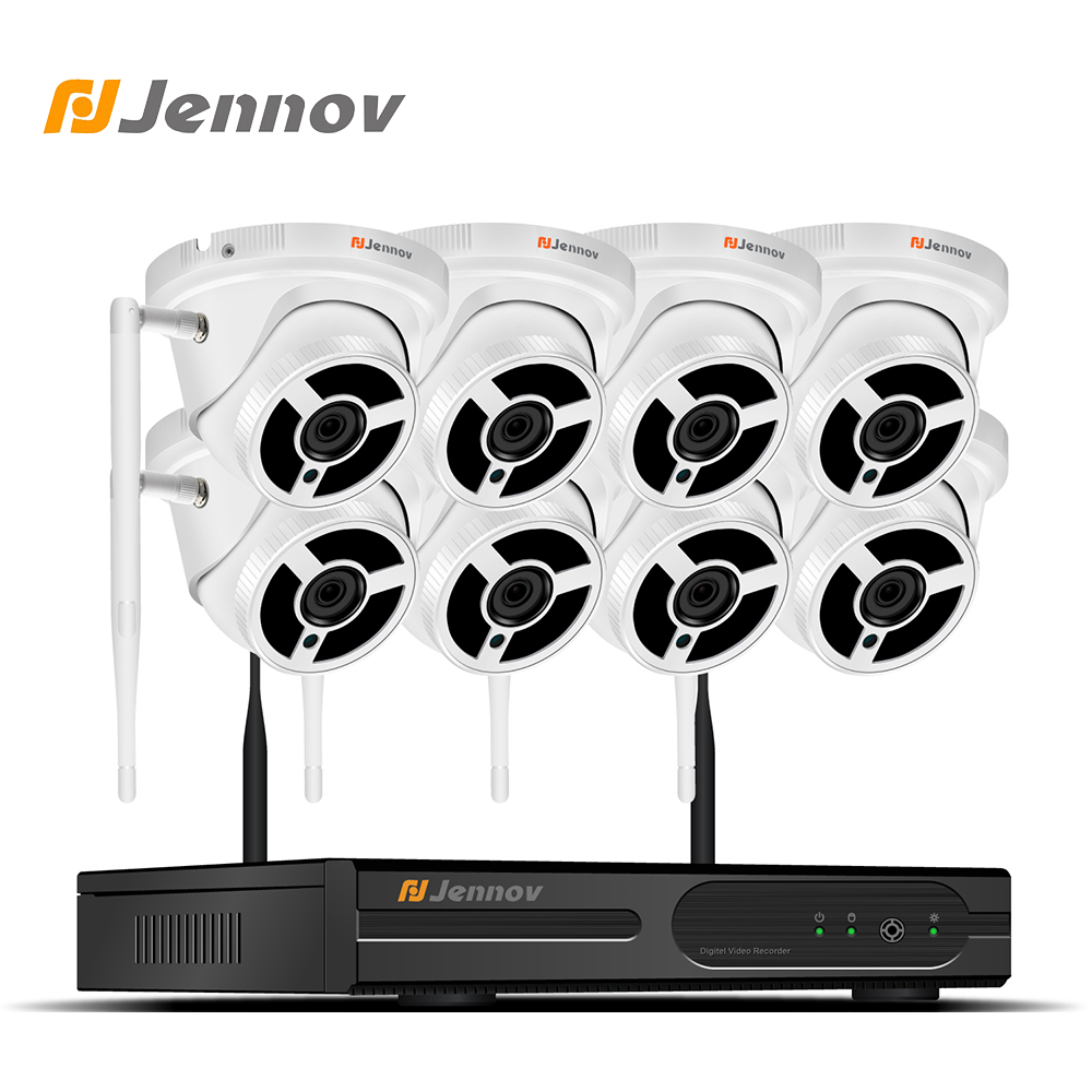 Jennov 8CH Wifi CCTV Video Surveillance Kit Wireless Security Camera System CCTV System 1080P 2MP HD NVR APP EseeCloud IP Cam full hd 8ch 1080p wireless nvr cctv system 2mp 1080p wifi ip camera waterproof day night security camera video surveillance kit