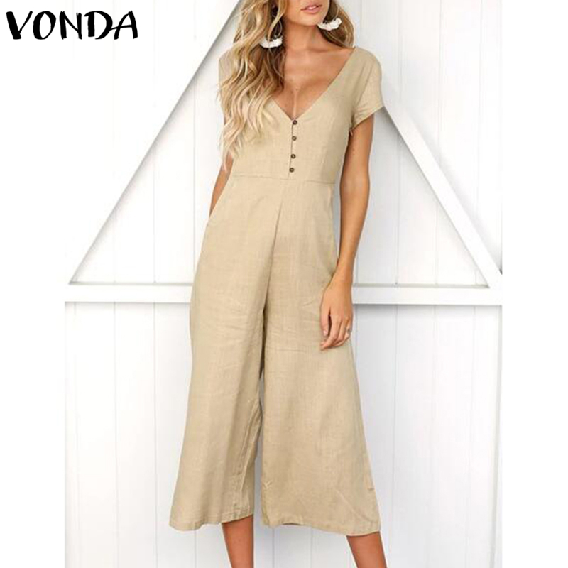 VONDA Rompers Womens   Jumpsuit   2019 Summer Casual Elegant Sexy V Neck Short Sleeve Pockets Overalls Playsuits Plus Size Bodysuits