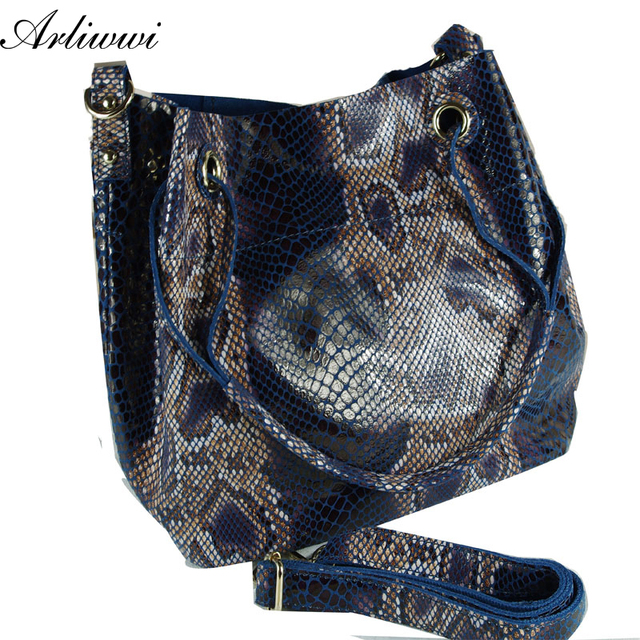 Arliwwi Brand Designer Shiny Snake Grain Fashion Women Luxurious Shoulder Bags 100%  Real Leather Bucket Style Embossed Handbags