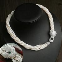 Fine Jewelry Серьги головы леопарда 4 5 мм пресноводного жемчуга многослойный ожерелье ошейник