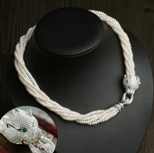 Fine jewelry cubic leopard head 4 - 5 mm Freshwater pearls multi-layered choker necklacesFine jewelry cubic leopard head 4 - 5 mm Freshwater pearls multi-layered choker necklaces