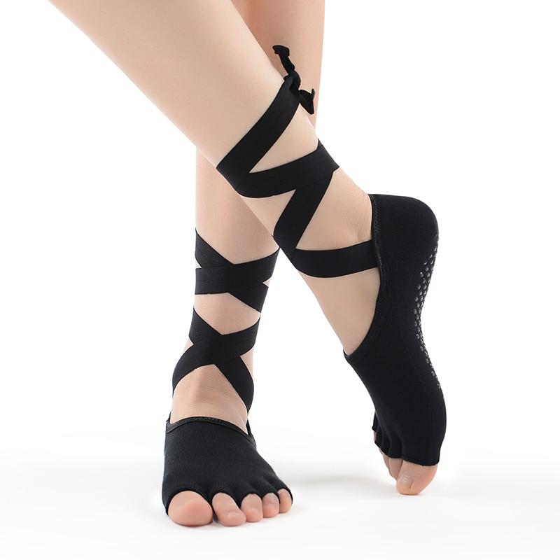 Women Tied Pilates Yoga Toe Socks Professonal Sports And Dance Socks Slippers Hot Cotton Socks New Ribbons Non-Slip Gym Socks