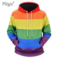 Plegie Fashion Rainbow Striped Printed Sweatshirt Hoodies Men Women Streetwear Loose Hoodie Autumn Long Sleeve Tracksuit