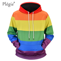 Plegie Fashion Rainbow Striped Printed Sweatshirt Hoodies Men Women Streetwear Loose Hoodie Autumn Long Sleeve Tracksuit