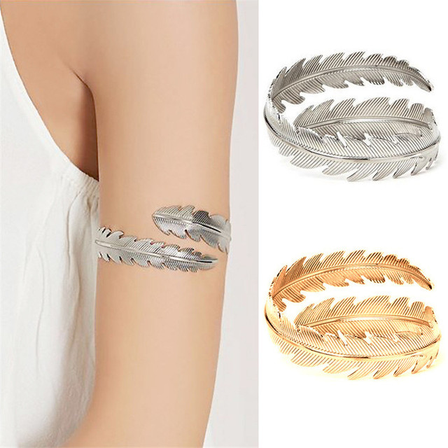 Bohemian Arm Cuff Feather Tree Leaf Bangle Vintage Bracelets Ring For Women Upper