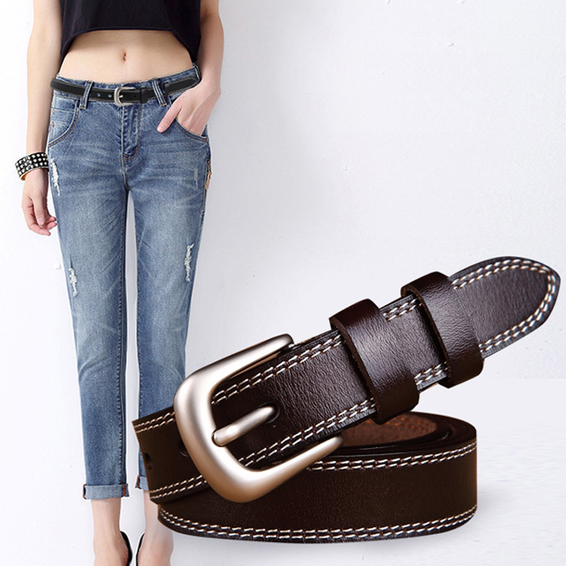 medyla Good Women belts cow genuine leather pin buckle vintage style top quality newest luxury female strap original