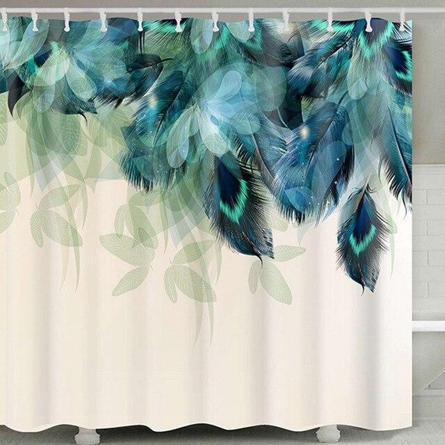 Seaกันน้ำพิมพ์ผ้าโพลีเอสเตอร์ผ้าม่านอาบน้ำOctopusทำความสะอาดได้Home Bath Decor 12ตะขอ