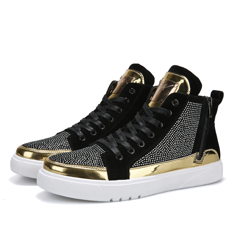 2019 Cool Men High Top Men Gold Glitter Sneakers Lace Up Crystal Platform Flats Gold Shoes Man Sequins Krasovki Bling Shoes