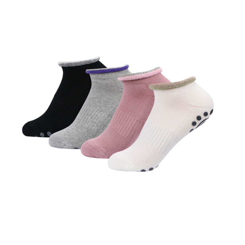Humble Vihir 4 Pairs/bag Women Yoga Pilates Cotton Socks Gym Non Slip Massage Toe Socks Cotton Socks With Silicone Dot Other