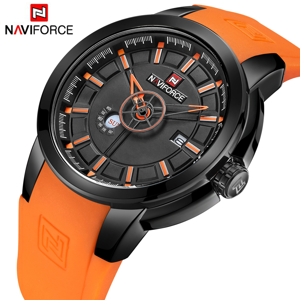 NAVIFORCE Luxury Brand Military Watches Men Quartz Analog 3D Face Rubber Clock Man Sports Watches Army Watch Relogios Masculino skmei luxury brand military watch men quartz analog clock nylon strap clock man sports watches army relogios masculino