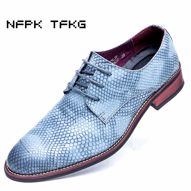 new fashion men wedding party nightclub  soft cow leather shoes snake skin pattern derby shoe breathable teenage pointed lace-up 2017 new spring imported leather men s shoes white eather shoes breathable sneaker fashion men casual shoes