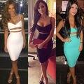 Новые Sexy Dress Club Wear 2016 Женщины Vestidos Лето Рукавов Bodycon Dress Хлопок Белый Черный Midi Карандаш Бинты Party Dress