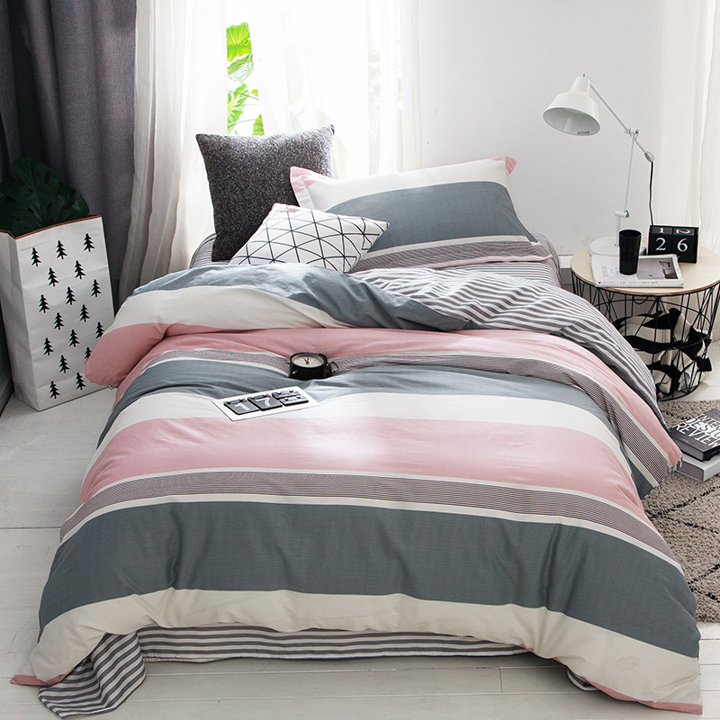 New 100% Cotton Printed Fashion Simple Bedding set Comfortable Soft Duvet Cover Set Bed Sheet Fitted Pillowcase Twin Size 3pcsNew 100% Cotton Printed Fashion Simple Bedding set Comfortable Soft Duvet Cover Set Bed Sheet Fitted Pillowcase Twin Size 3pcs