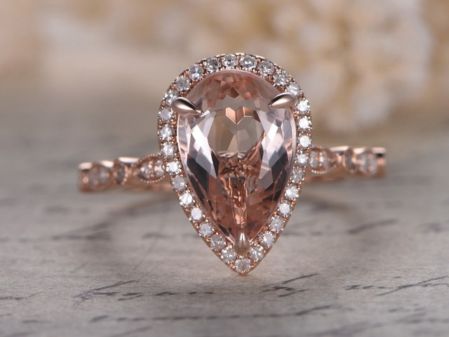 Myray 8x12mm Pear Shaped Natural Pink Morganite Stone 14k Rose Gold