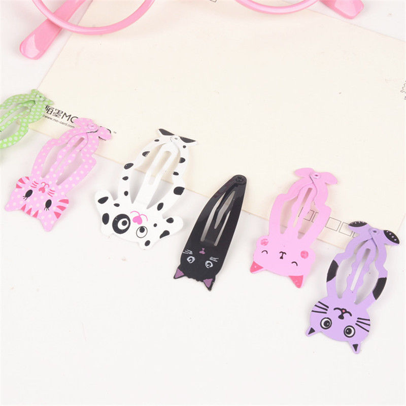 HTB1gFjgQXXXXXblaXXXq6xXFXXX9 Cute 6-Pieces Dog Cat Bunny Hair Snap Clip Set For Women/Children
