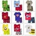 Caráter Crianças Conjuntos de Pijama 2016 Meninos roupas de Verão Curto Pijama Pijama Terno Meninas Sleepwear Camisola pijamas de Algodão do miúdo