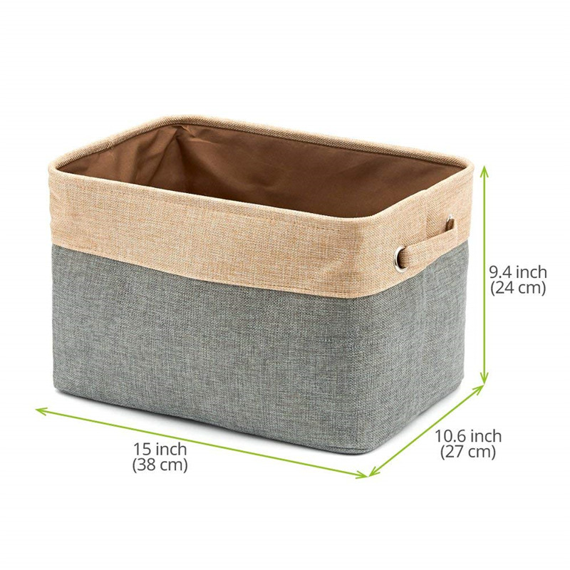 [3 Pack] Collapsible Storage Bin Basket Foldable Canvas Fabric Tweed Storage  Organization Square Bin Set With For Home Office