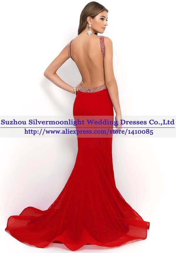 Aliexpress.com Acheter Robe festa longo noite 2015 Nouvelle Arrivée Longue Robe  Rouge Sexy Dos Nu Perlée Sirène Robe de Soirée 2015 Femmes De Bal Robes de