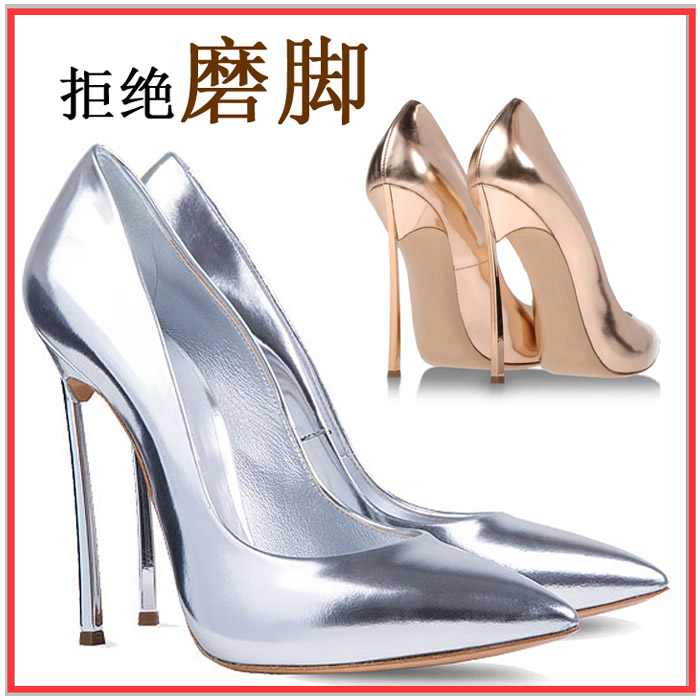 Women's Pumps High-heeled Shoes Woman Thin Heels Pointed Toe Silver and Gold Fashion Sexy Leather OL Office Shoes Wedding Shoes sexy black leather pointed toe high heels pumps shoes newest woman s lace up thin heels shoes party shoes