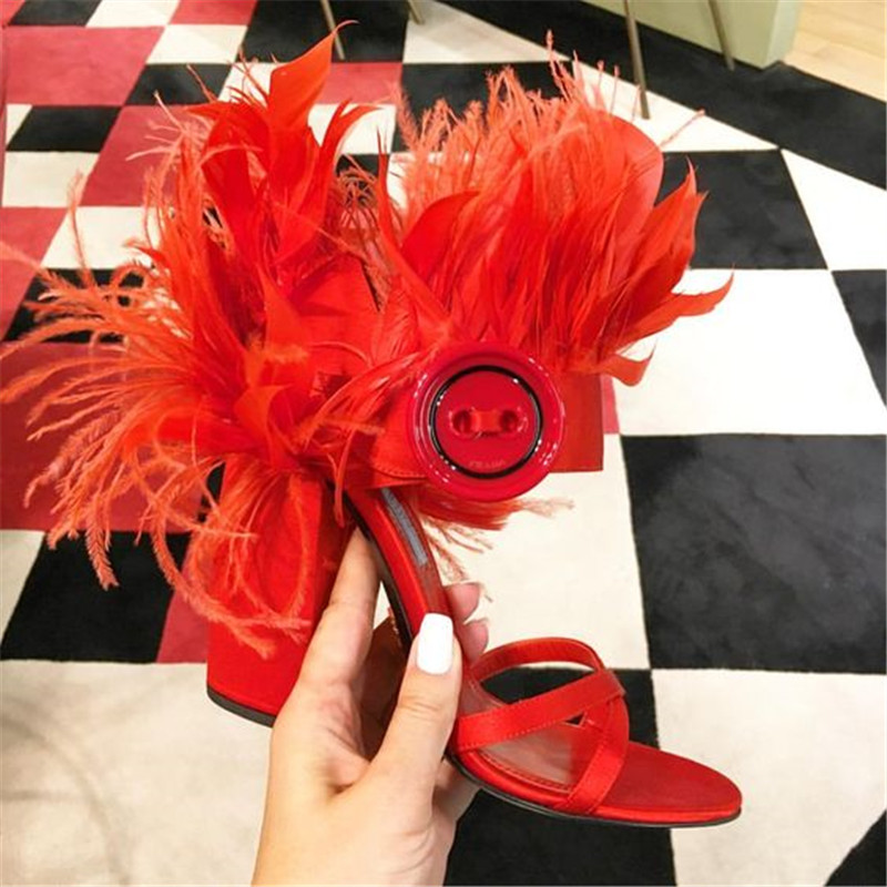 Jady Rose Fashion Feather Decor Women Sandals Ankle Strap Women Pumps 10CM Chunky High Heels  Ladies Shoes Valentine Shoes-in High Heels from Shoes    3