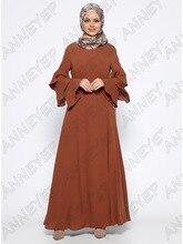 Для девочек-мусульманок длинные листьев лотоса рукавом Дубай платье макси Абая jalabiya исламских женщин-платье одежда халат кафтан марокканской моды