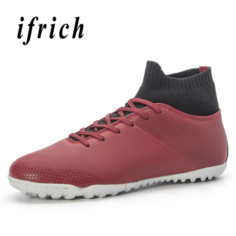 Football Sock Boots Men Wine Red Black Soccer Male Sneakers Hard Wearing Turf Football Men Shoe High Top Outdoor Soccer Shoes