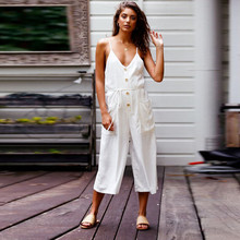981d86d6daa6 Feitong New Summer Women Strappy V Neck Backless Cotton Linen Playsuit  Loose White Solid Party Casual