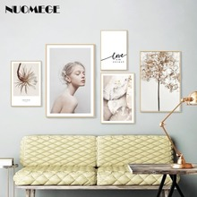 NUOMEGE Modern Minimalist Poster and Prints Nordic Girl Flower Canvas Painting Wall Art Decoration Pictures for Living Room